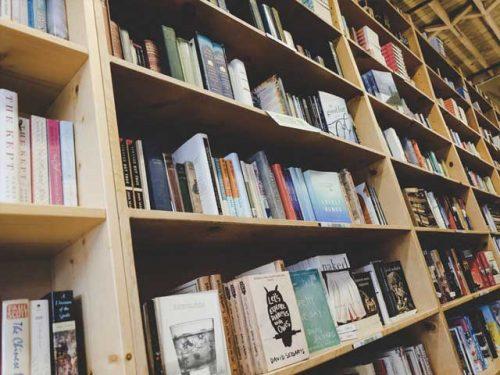 Bokhylle med bøker